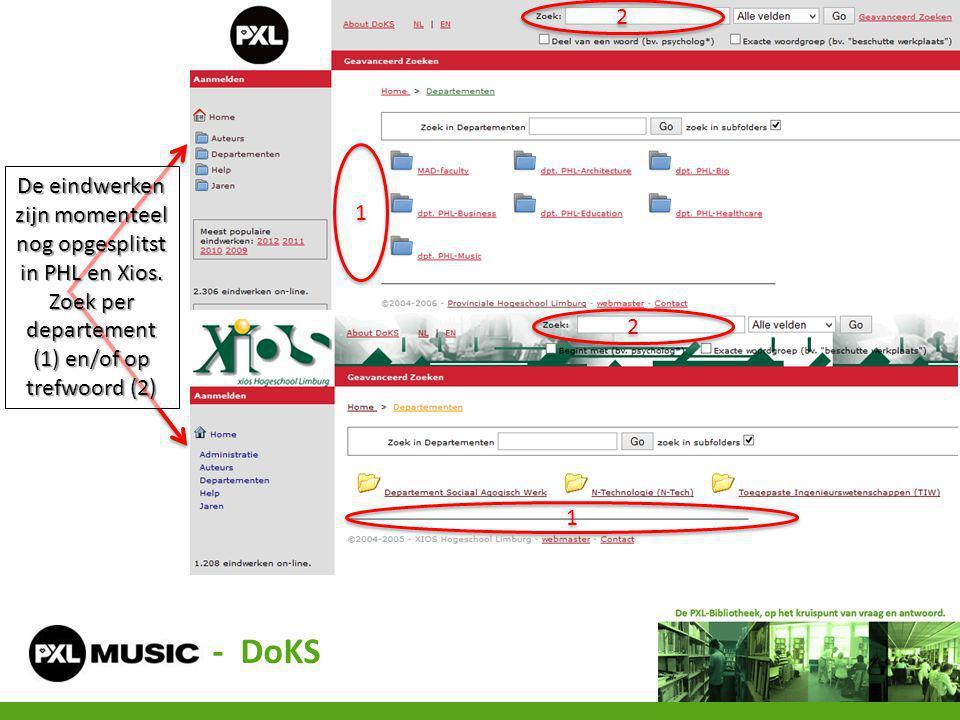 - DoKS 2 De eindwerken zijn momenteel nog opgesplitst in PHL en Xios.
