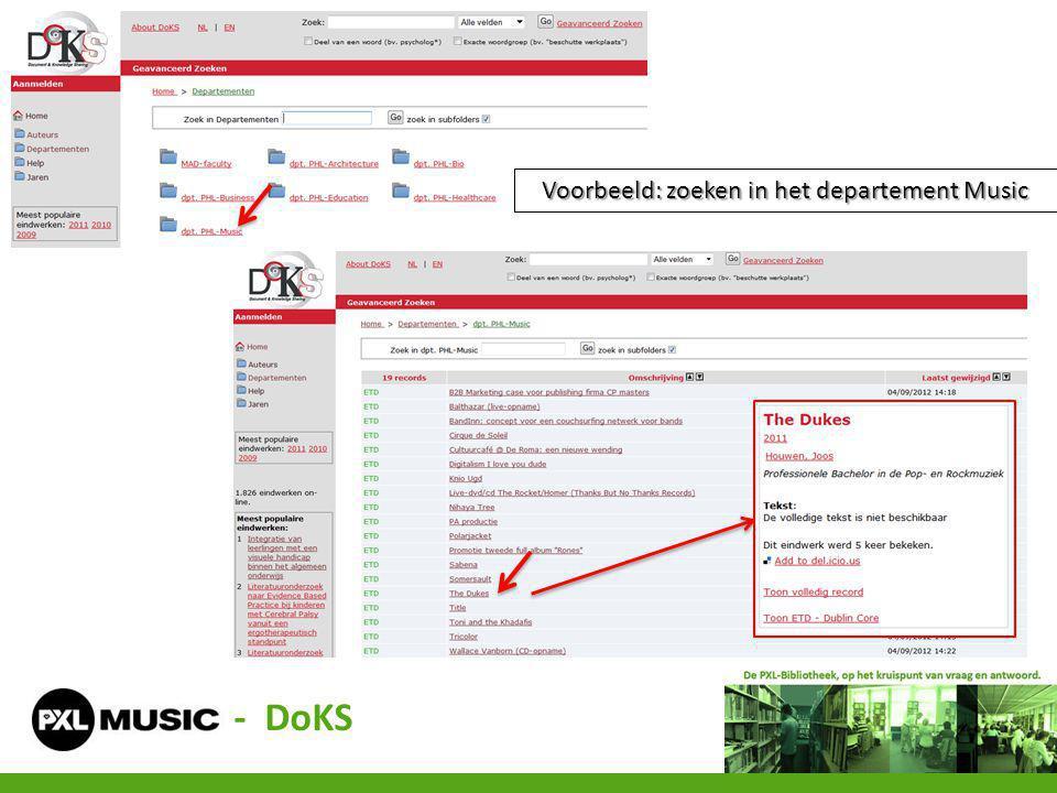 Voorbeeld: zoeken in het departement Music