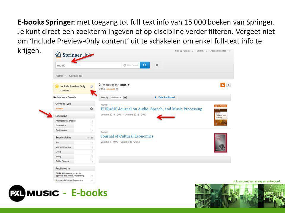 E-books Springer: met toegang tot full text info van 15 000 boeken van Springer.