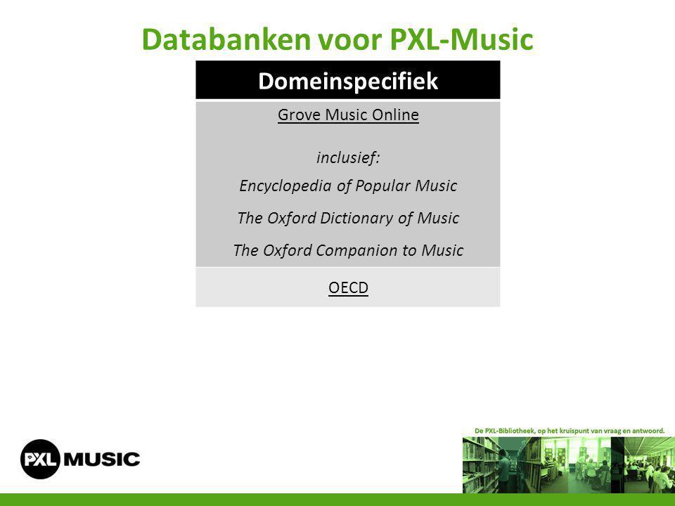 Databanken voor PXL-Music