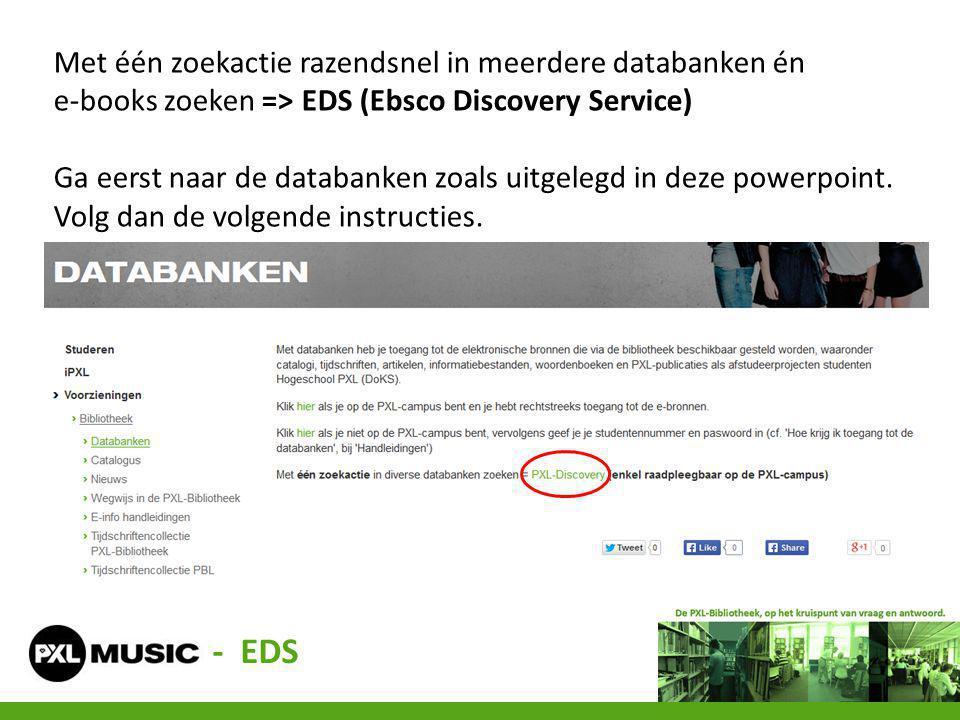 Met één zoekactie razendsnel in meerdere databanken én e-books zoeken => EDS (Ebsco Discovery Service)