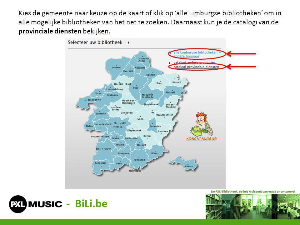 Kies de gemeente naar keuze op de kaart of klik op 'alle Limburgse bibliotheken' om in alle mogelijke bibliotheken van het net te zoeken. Daarnaast kun je de catalogi van de provinciale diensten bekijken.