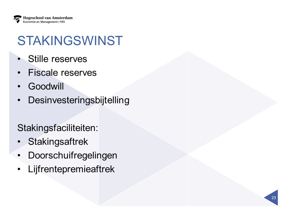 stakingswinst Stille reserves Fiscale reserves Goodwill