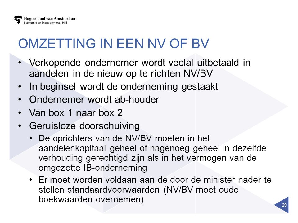 Omzetting in een NV of BV