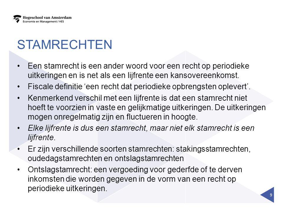 stamrechten Een stamrecht is een ander woord voor een recht op periodieke uitkeringen en is net als een lijfrente een kansovereenkomst.