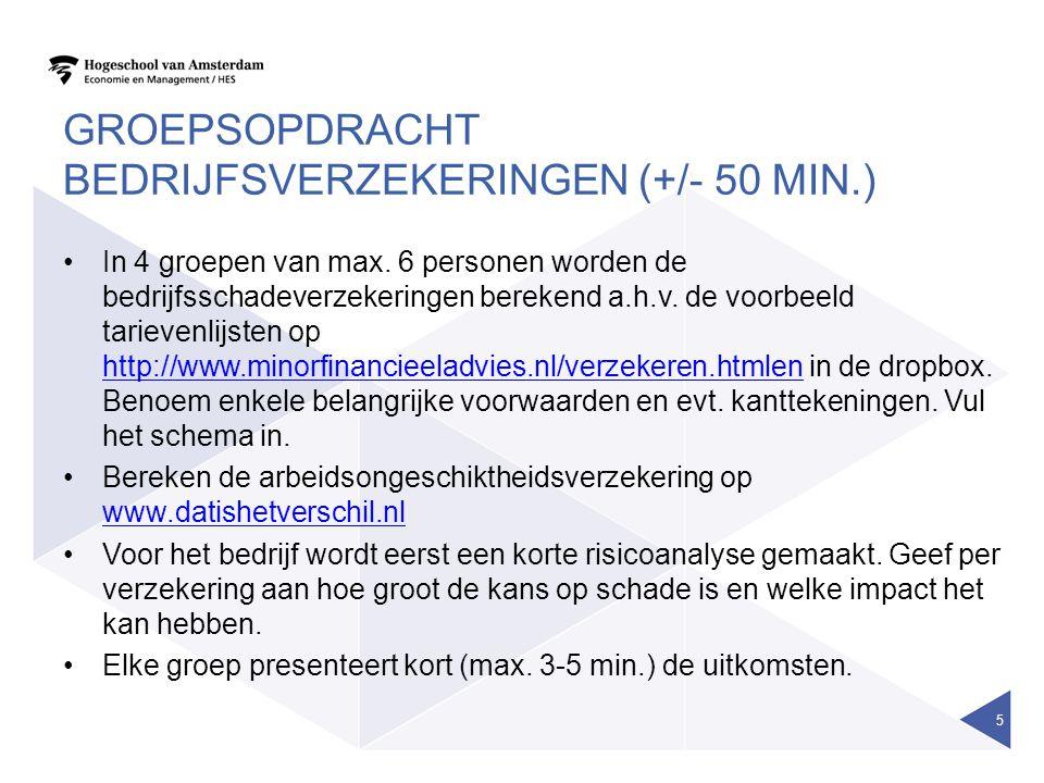 Groepsopdracht bedrijfsverzekeringen (+/- 50 min.)