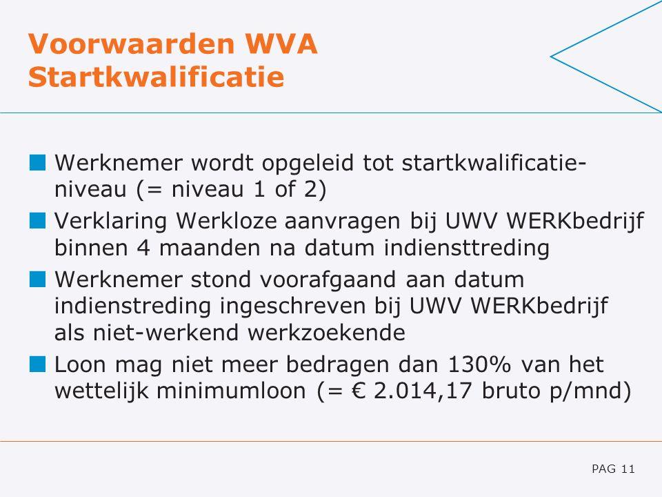 Voorwaarden WVA Startkwalificatie