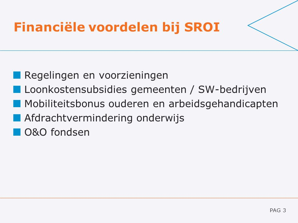 Financiële voordelen bij SROI