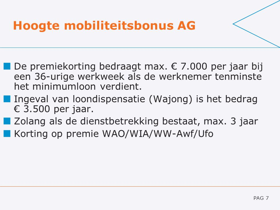 Hoogte mobiliteitsbonus AG