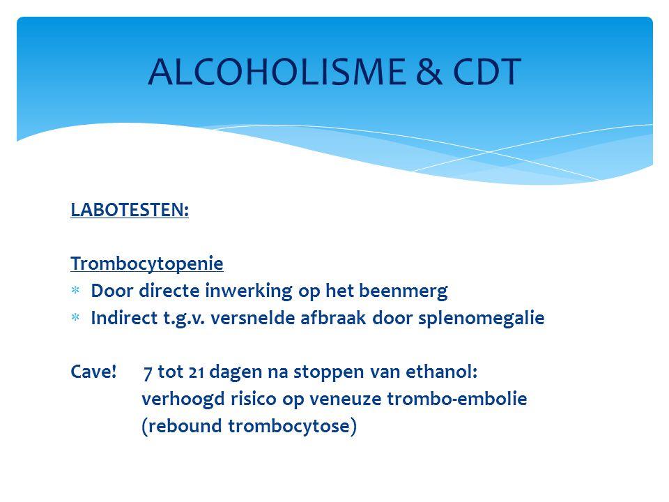 ALCOHOLISME & CDT LABOTESTEN: Trombocytopenie