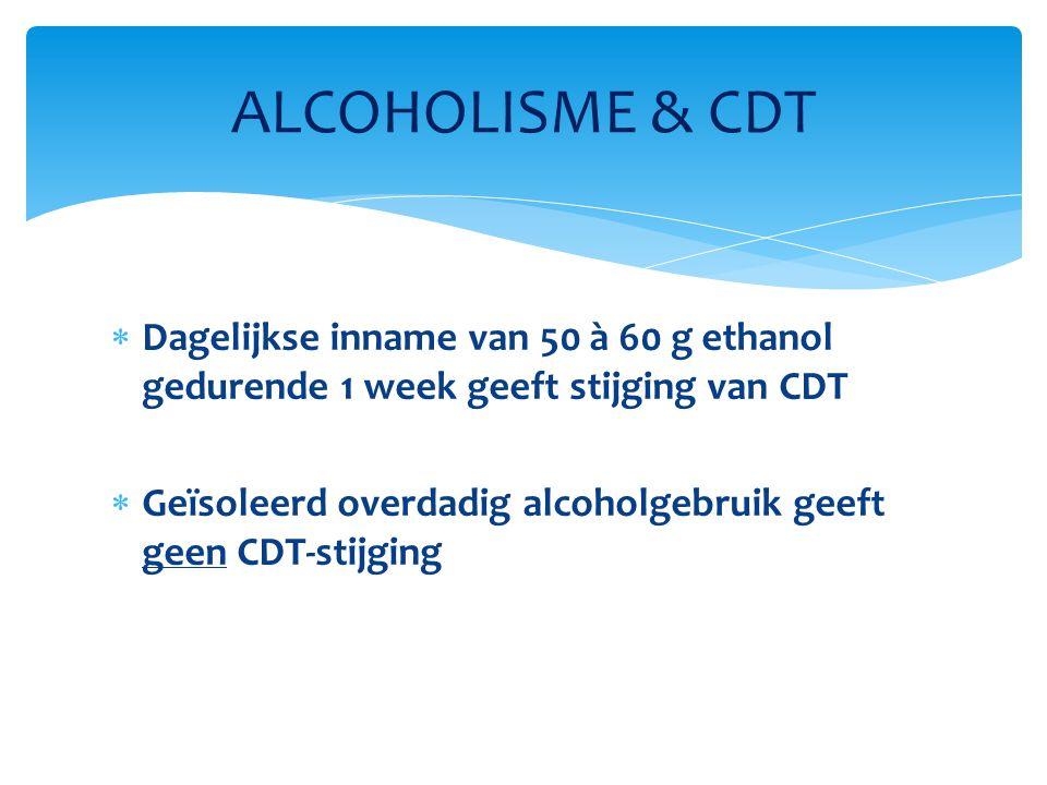 ALCOHOLISME & CDT Dagelijkse inname van 50 à 60 g ethanol gedurende 1 week geeft stijging van CDT.
