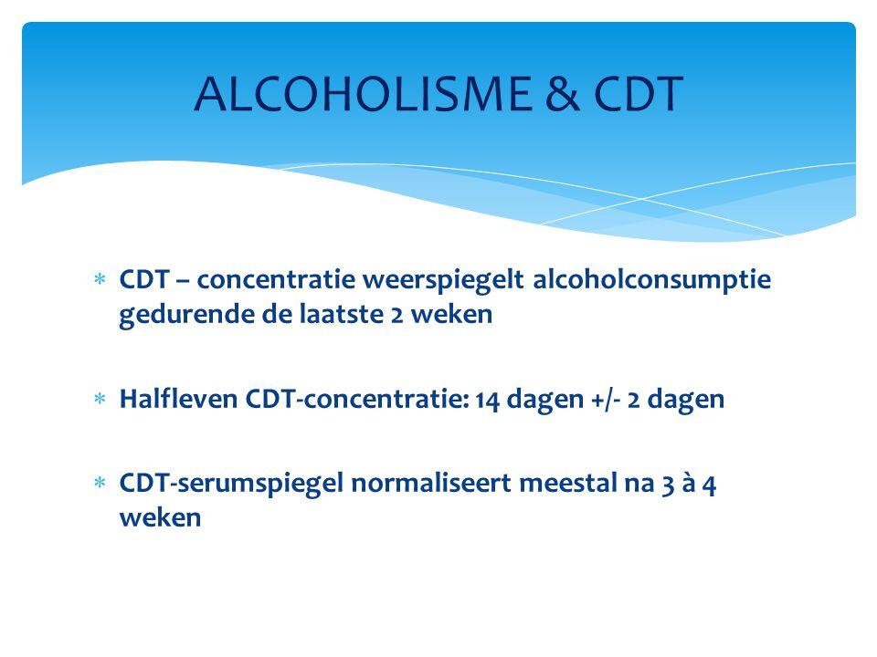 ALCOHOLISME & CDT CDT – concentratie weerspiegelt alcoholconsumptie gedurende de laatste 2 weken. Halfleven CDT-concentratie: 14 dagen +/- 2 dagen.