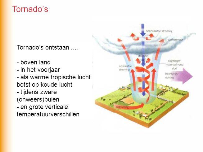 Tornado's Tornado's ontstaan …. - boven land - in het voorjaar