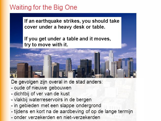 Waiting for the Big One If an earthquake strikes, you should take cover under a heavy desk or table.