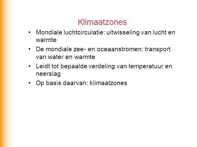 Klimaatzones Mondiale luchtcirculatie: uitwisseling van lucht en warmte. De mondiale zee- en oceaanstromen: transport van water en warmte.