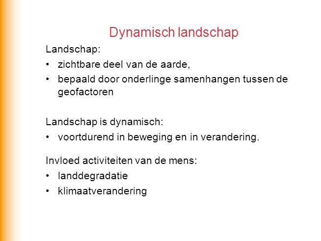 Dynamisch landschap Landschap: zichtbare deel van de aarde,