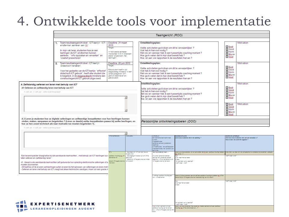 4. Ontwikkelde tools voor implementatie