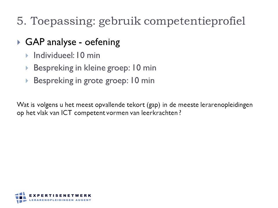 5. Toepassing: gebruik competentieprofiel