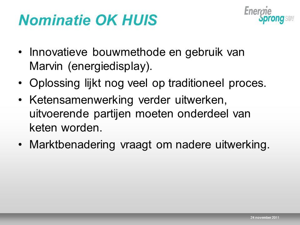 Nominatie OK HUIS Innovatieve bouwmethode en gebruik van Marvin (energiedisplay). Oplossing lijkt nog veel op traditioneel proces.