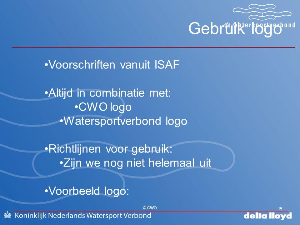 Gebruik logo Voorschriften vanuit ISAF Altijd in combinatie met: