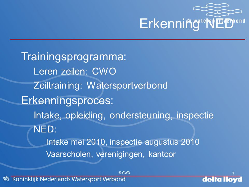 Erkenning NED Trainingsprogramma: Erkenningsproces: Leren zeilen: CWO