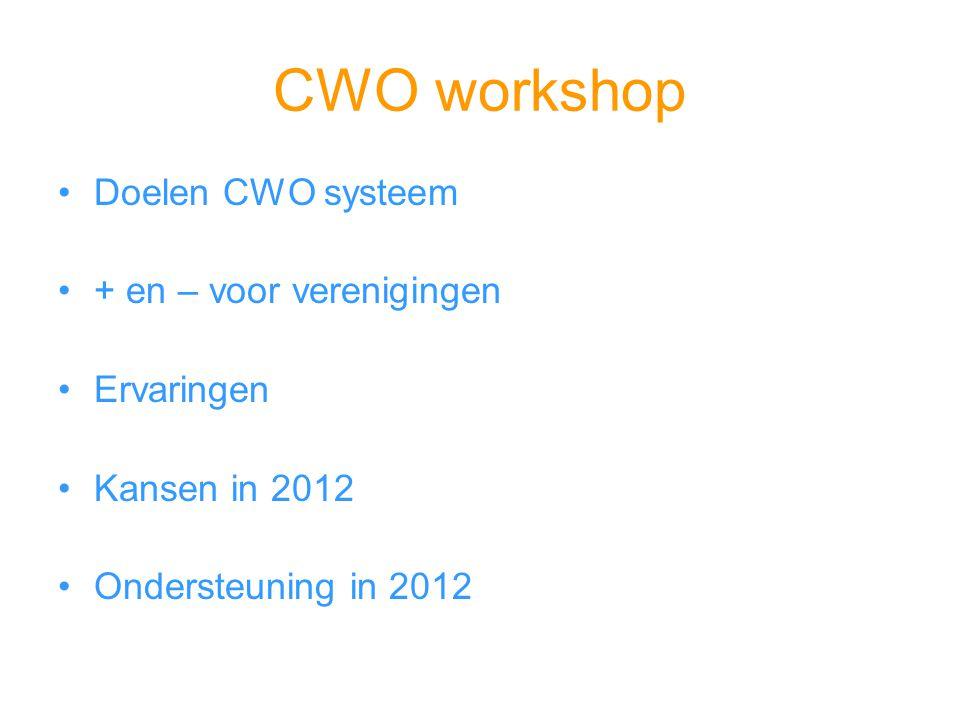 CWO workshop Doelen CWO systeem + en – voor verenigingen Ervaringen