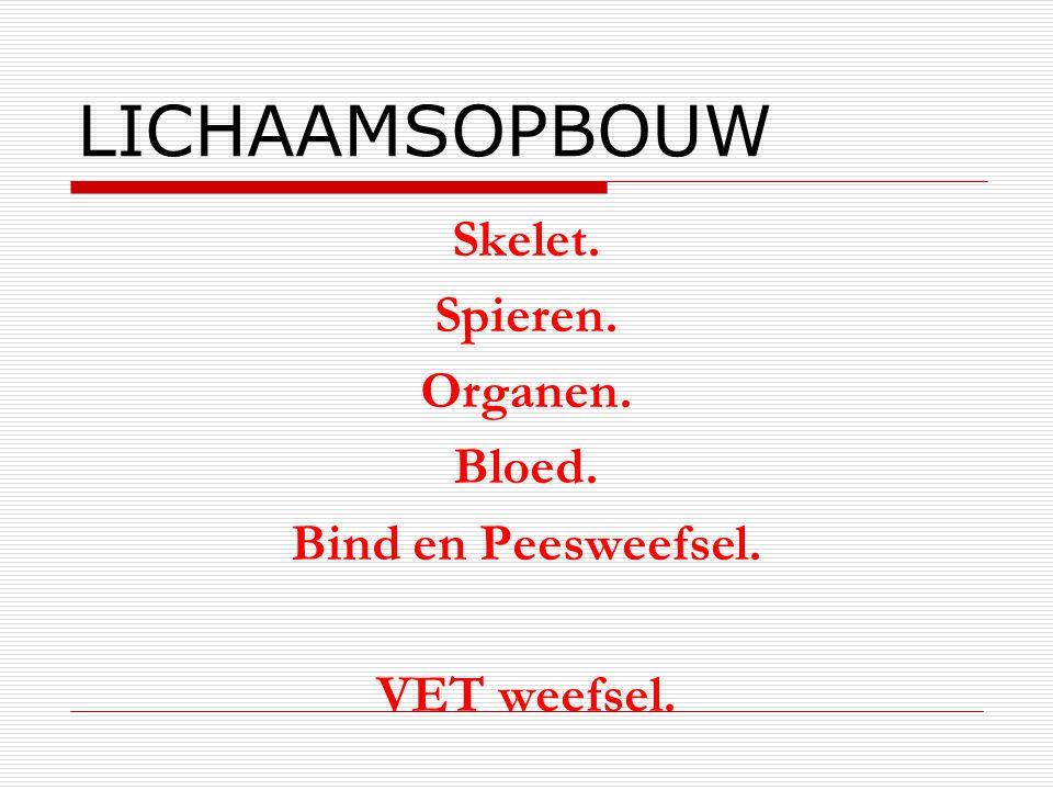 LICHAAMSOPBOUW Skelet. Spieren. Organen. Bloed. Bind en Peesweefsel.