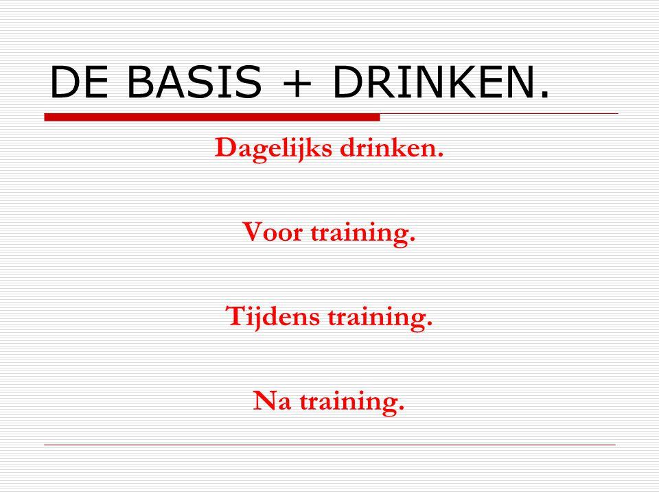 DE BASIS + DRINKEN. Dagelijks drinken. Voor training.