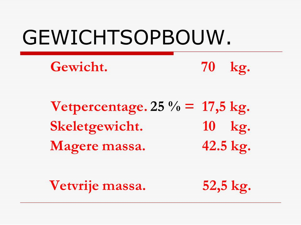 GEWICHTSOPBOUW. Gewicht. 70 kg. Vetpercentage. 25 % = 17,5 kg.
