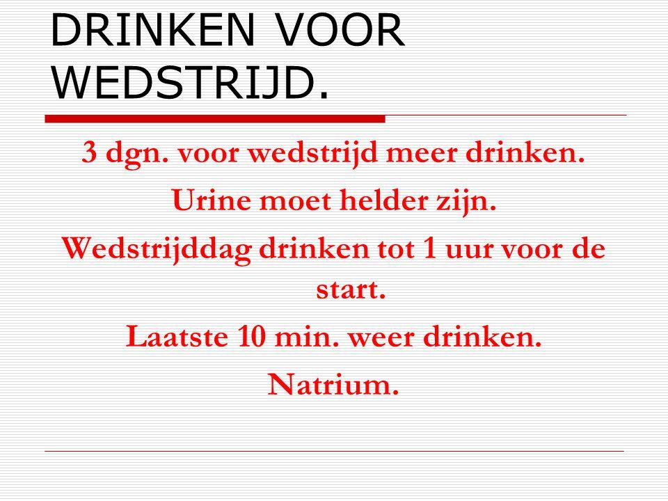 DRINKEN VOOR WEDSTRIJD.