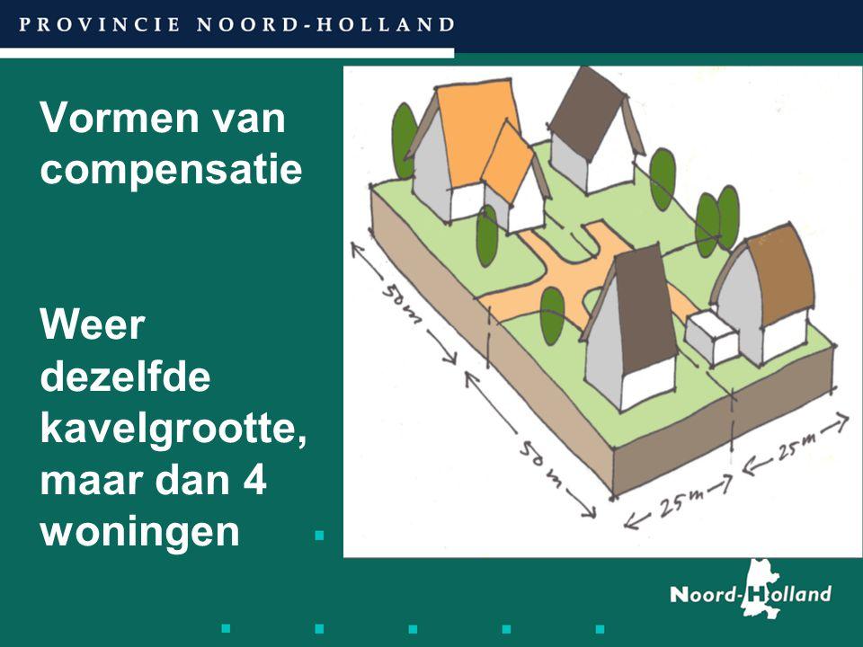Vormen van compensatie Weer dezelfde kavelgrootte, maar dan 4 woningen