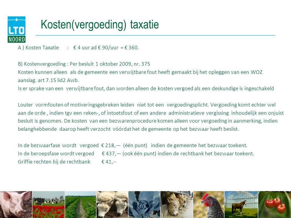 Kosten(vergoeding) taxatie