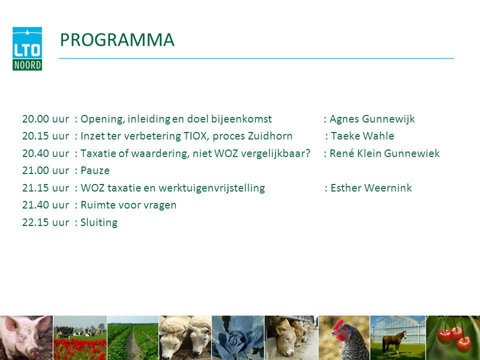 PROGRAMMA 20.00 uur : Opening, inleiding en doel bijeenkomst : Agnes Gunnewijk.