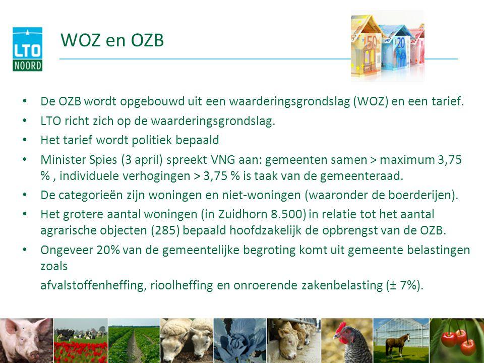 WOZ en OZB De OZB wordt opgebouwd uit een waarderingsgrondslag (WOZ) en een tarief. LTO richt zich op de waarderingsgrondslag.