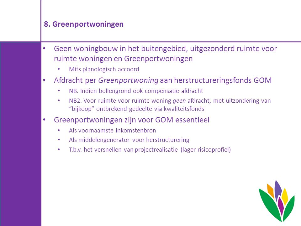 Afdracht per Greenportwoning aan herstructureringsfonds GOM
