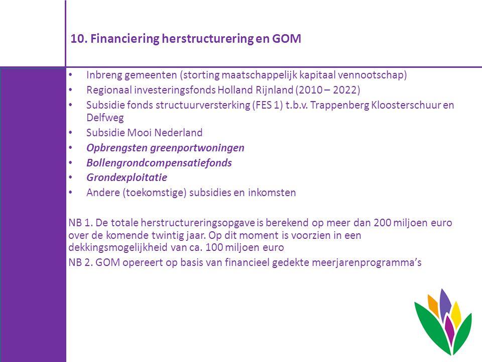 10. Financiering herstructurering en GOM