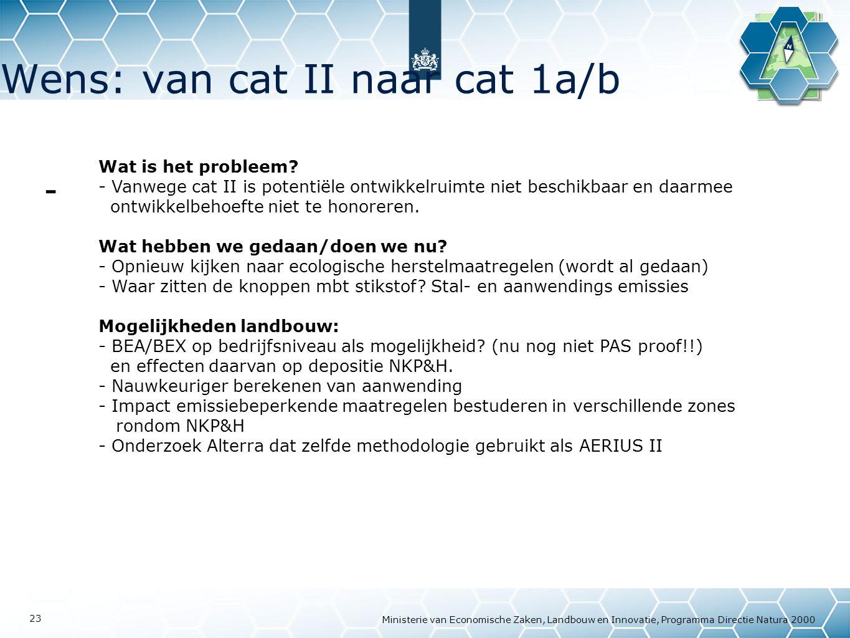 Wens: van cat II naar cat 1a/b