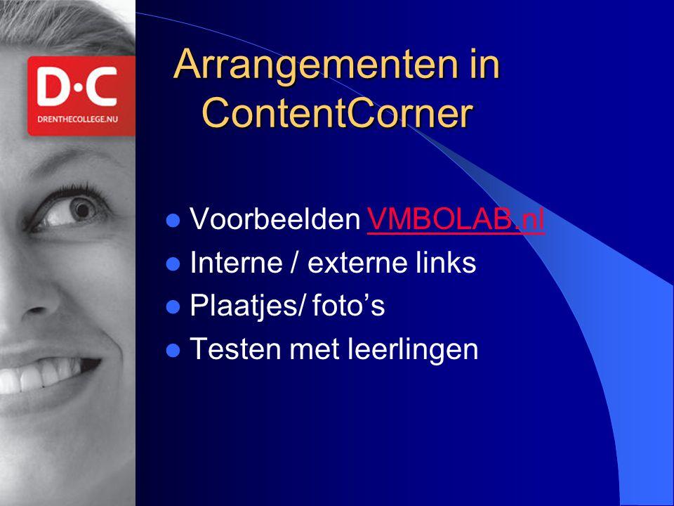 Arrangementen in ContentCorner