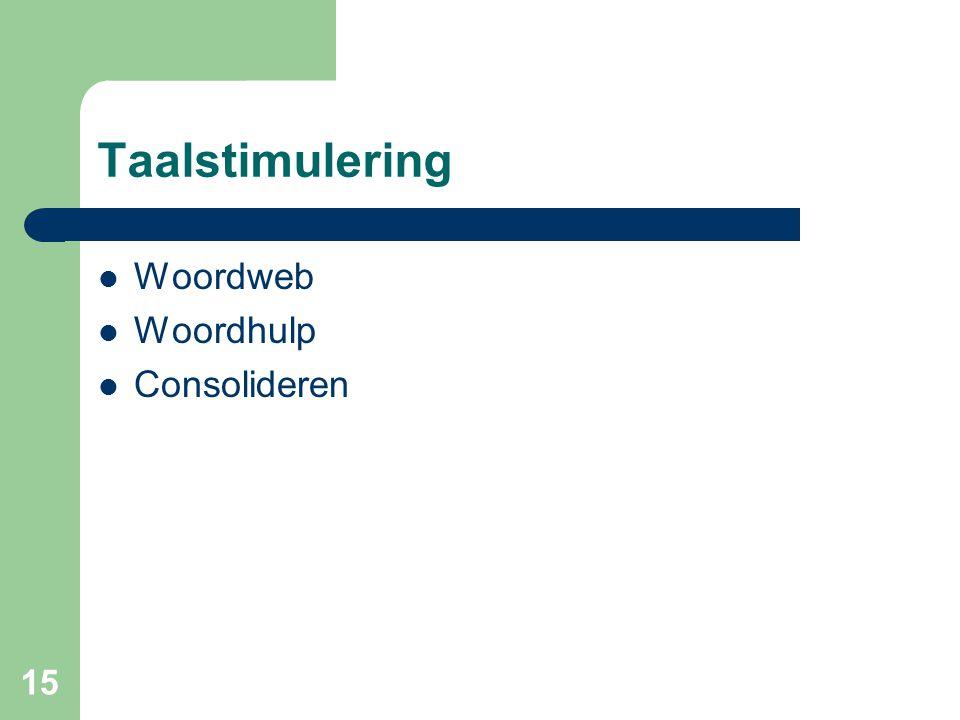 Taalstimulering Woordweb Woordhulp Consolideren