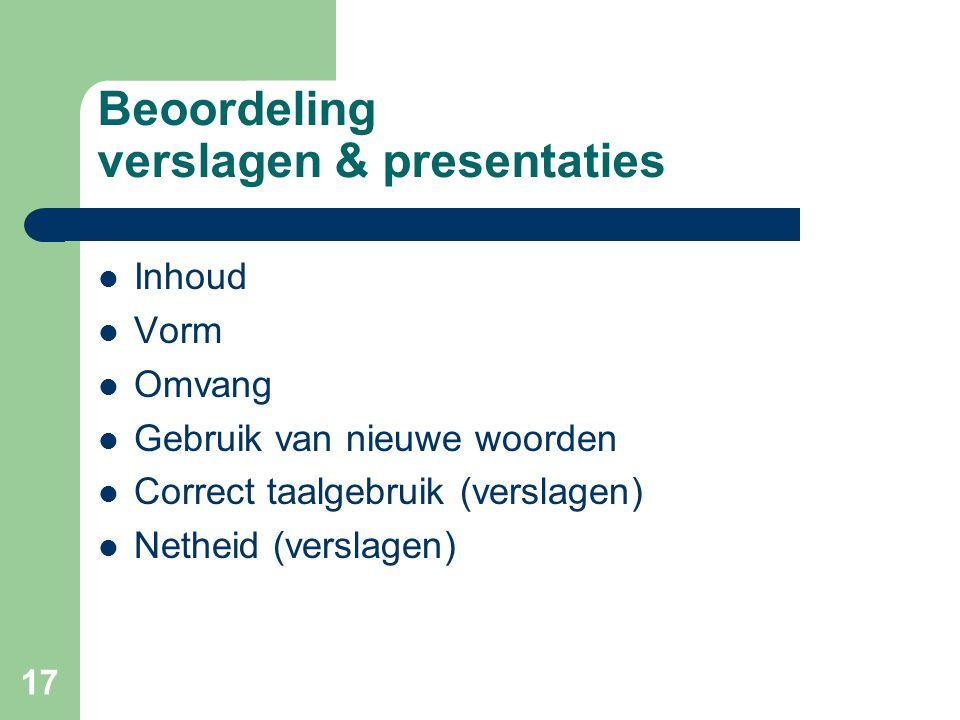 Beoordeling verslagen & presentaties