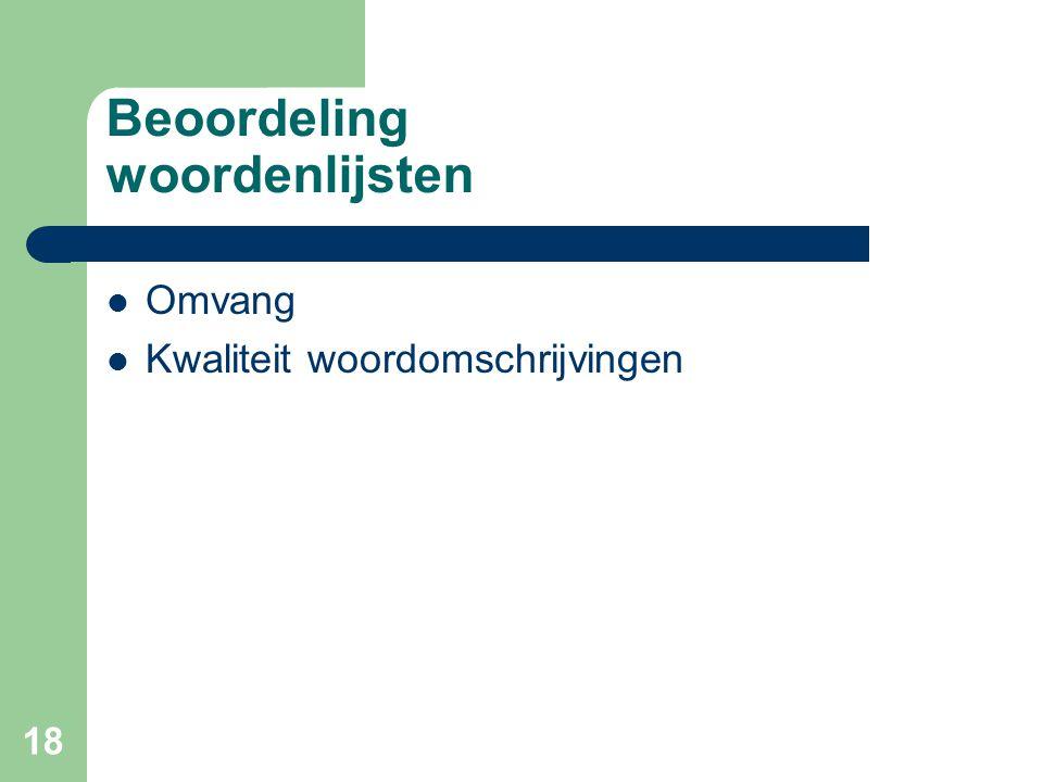 Beoordeling woordenlijsten