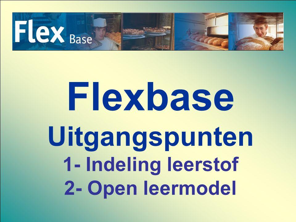 Flexbase Uitgangspunten 1- Indeling leerstof 2- Open leermodel