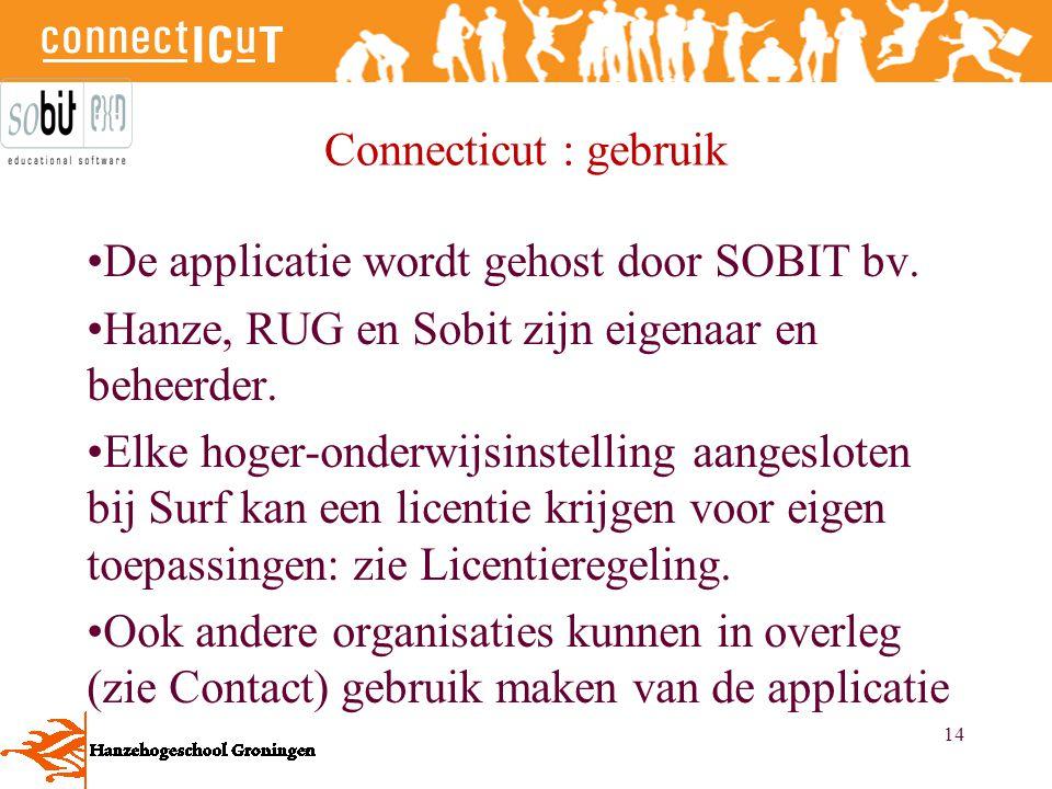 Connecticut : gebruik De applicatie wordt gehost door SOBIT bv. Hanze, RUG en Sobit zijn eigenaar en beheerder.