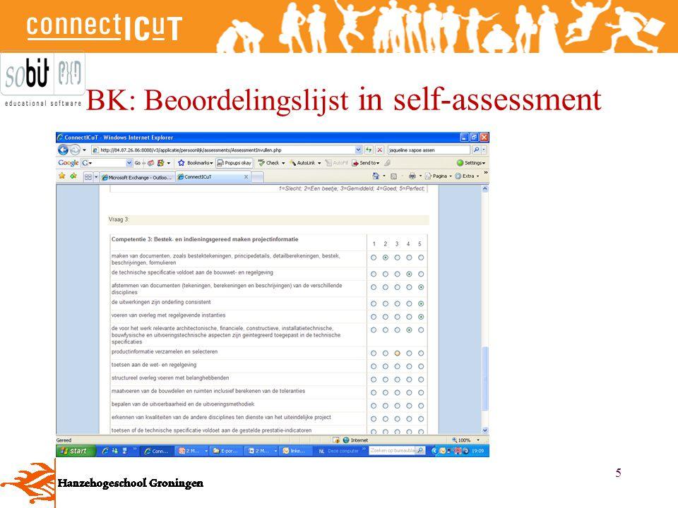 BK: Beoordelingslijst in self-assessment