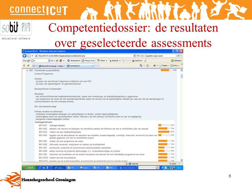 Competentiedossier: de resultaten over geselecteerde assessments
