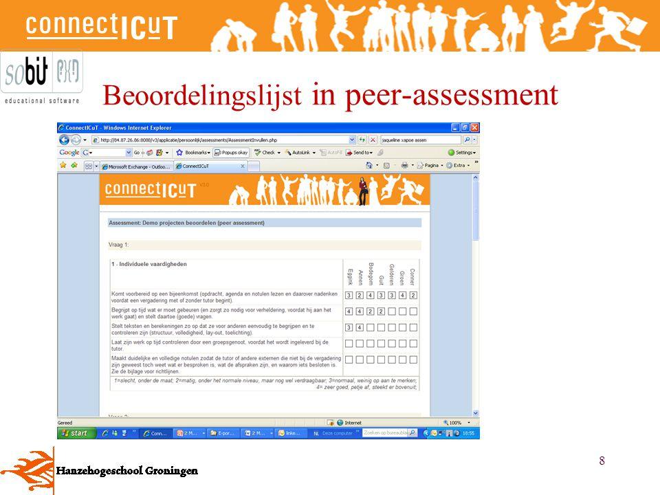 Beoordelingslijst in peer-assessment