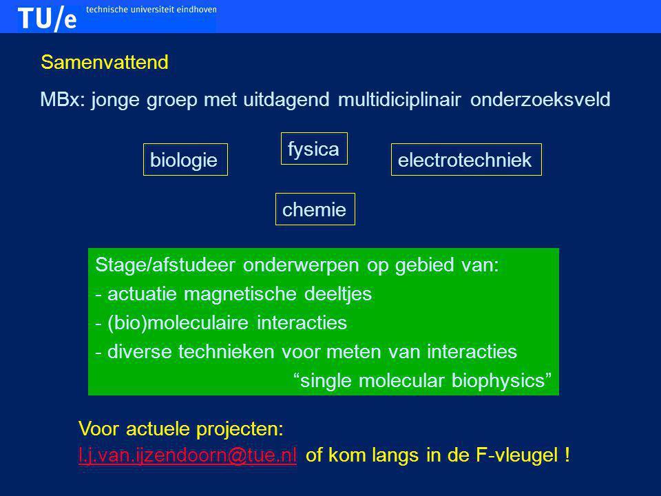 Samenvattend MBx: jonge groep met uitdagend multidiciplinair onderzoeksveld. fysica. biologie. electrotechniek.