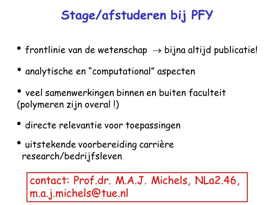 Stage/afstuderen bij PFY