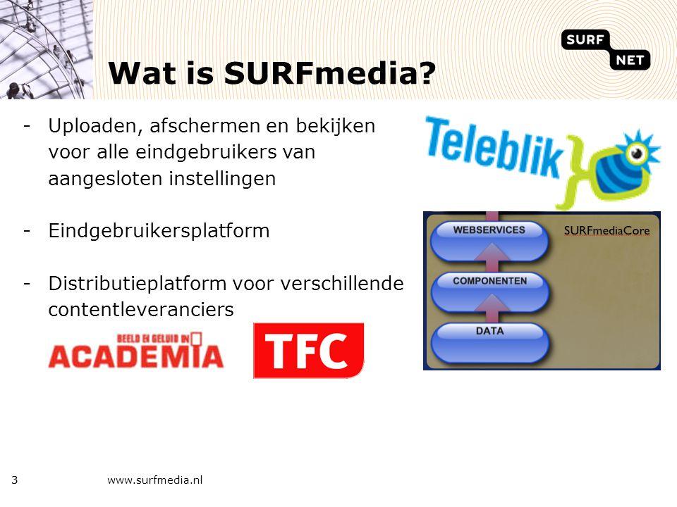 SURFmedia kenmerken - Integratie on-demand en live dienst