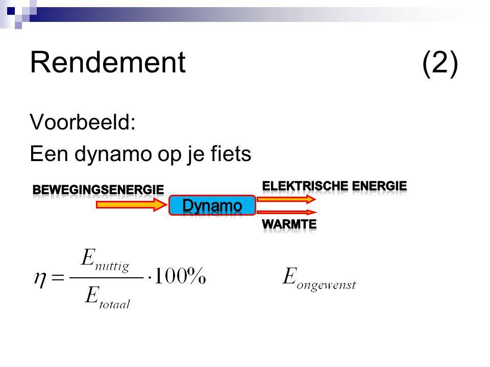 Rendement (2) Voorbeeld: Een dynamo op je fiets Dynamo